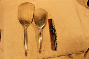 Antique Webster Sterling Silver Vanity Dresser Set Mirror Brush Comb