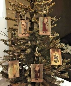 Handmade Primitive Vintage St Nick Belsnickle Tags Ornies Christmas Tree