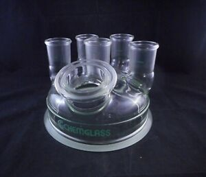Chemglass Glass 6 necks 45 50 60mm Angled Flanged Reaction Kettle Lid 200mm