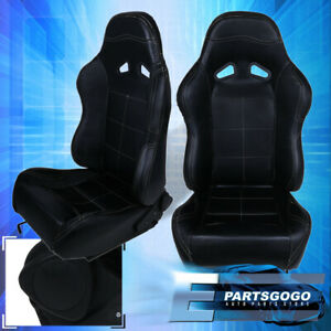 For Acura Honda Pvc Leather Bucket Racing Seat Pair Fully Reclinable Jdm Black