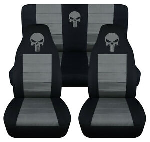 Front rear Car Seat Covers Black charcoal W punisher Fits Wrangler Yj tj lj