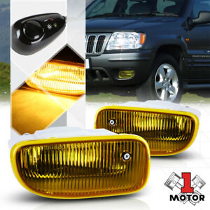 Yellow Lens Fog Light Bumper Lamp W switch harness For 99 04 Jeep Grand Cherokee