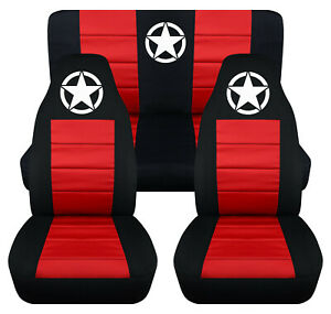 Front Rear Car Seat Covers Black Red W Army Star Fits Wrangler Yj Tj Lj
