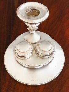 Henry Williamson English Sterling Silver Candle Holder With Inkwells 1913