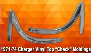New 1971 1974 Dodge Charger Vinyl Top Check Mouldings Moldings Mopar 1972 1973