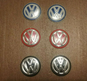 2 Pcs Red Blue Black 14mm Key Fob Metal Emblem Sticker Logo Remote Volkswagen Vw