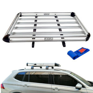 64 Universal Roof Rack Cargo Carrier W Extension Luggage Basket Suv Silver