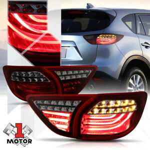Red smoked tron Led Bar 3d Neon Tail Light Brake Lamp For 13 16 Mazda Cx 5