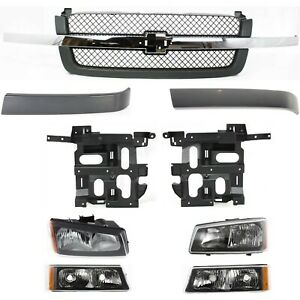 Grille Assembly Kit For 2003 2006 Chevrolet Silverado 1500 Front 9pc