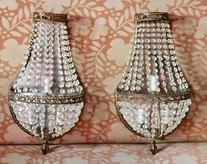 Pair Vtg French Empire Style Faceted Crystal Brass Lighted Wall Sconces 20