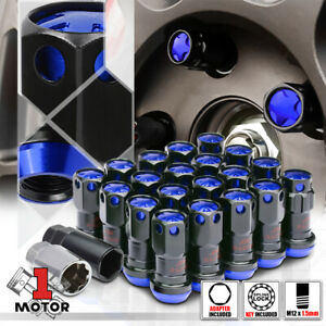 16 Blue Black M12x1 5 45mm Aluminum Floating Tuner Wheel Lug Nut W 4 Lock Key