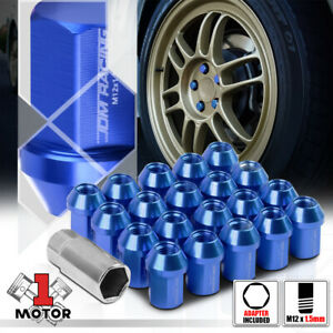 20 Blue M12x1 5 35mm Aluminum Flattop Capped Conical Tuner Lug Nut adapter