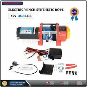 3500lbs Electric Winch Synthetic Rope Winch 12v Atv Utv Winch Towing Truck 4wd