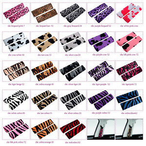 Nice Set Of Car Seat Belt Covers Cow Prints Pink purple tan silver white