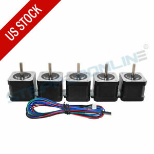 5pcs Nema 17 Stepper Motor 64oz in 1 5a 4 wire 3d Printer Reprap Arduino Cnc Diy