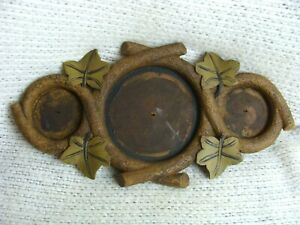Vintage Black Forest Style Picture Frame Unusual Carving Limbs Leaves Cabin