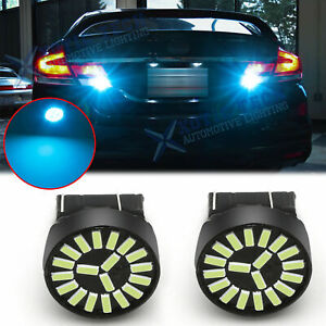8000k Ice Blue 7443 4014 Smd Led Reverse Back Up Signal Brake Light Bulbs 2pcs