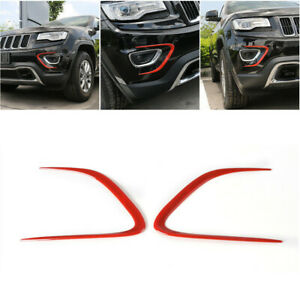 2pcs Red Front Fog Light Lamp Decor Cover Trim For Jeep Grand Cherokee 2014 2016