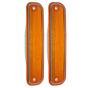 Pair Front Signal Side Marker Lights Chrome Trim For 73 80 Chevy Gmc Suv Pickup