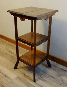 Antique Victorian Eastlake Carved Oak 3 Tier End Lamp Table Plant Stand