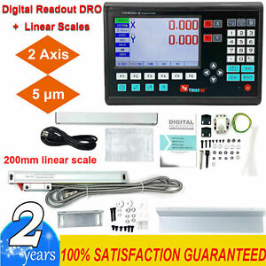 2 Axis Dro Digital Readout For Milling Lathe Machine 200mm Linear Glass Scales