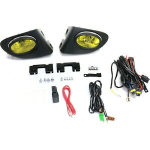 Fog Light Kit For 2002 2005 Honda Civic Lh Rh Yellow Lens Si Models