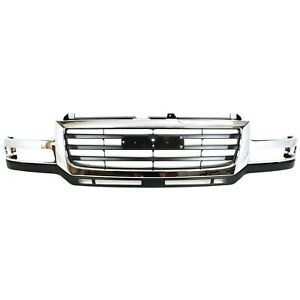 Grille 03 07 For Gmc Sierra 2500 3500 Hd Chr Shell W black Insert Fit 07 Classic