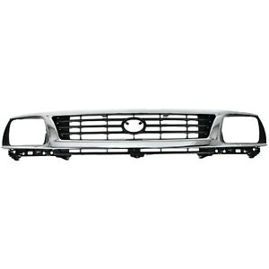 Grille For 95 96 Toyota Tacoma Chrome Shell W Black Insert Plastic