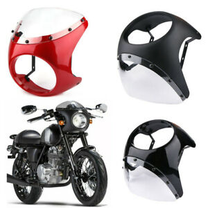 7 Motorcycle Headlight Retro Cafe Racer Fairing Windshield Universal For Harley
