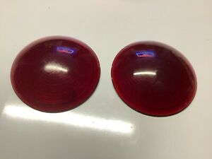 Pair Vintage Red Nos Crescent Glass Lens Truck Tail Light Auto Stop Lamp 3