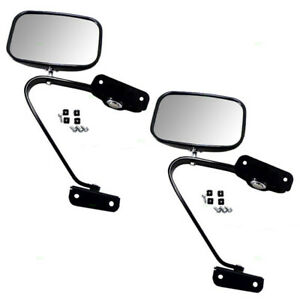 New Pair Manual Side View Mirror Black Steel Assembly Ford Bronco Pickup Truck