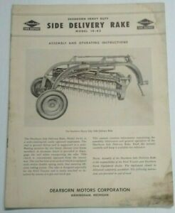 1952 Ford Tractor Dearborn Side Delivery Rake Operating Assembly Manual