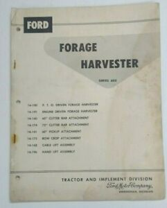 1958 Ford Tractor Forage Harvester Series 605 Operating Assembly Manual