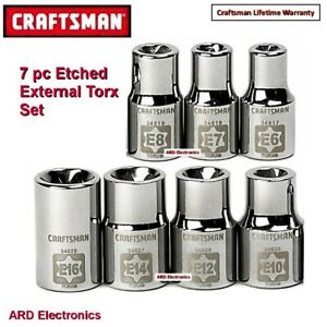 Craftsman Tools 7 Pc External Torx Socket Set 1 4 3 8 Drive 13