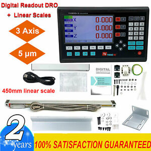 3 Axis Dro Digital Readout For Milling Lathe Machine 450mm Linear Glass Scales