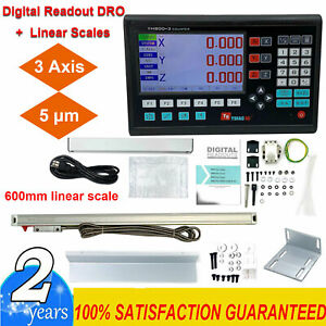 3 Axis Dro Digital Readout For Milling Lathe Machine 600mm Linear Glass Scales