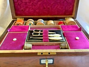 Superb Quality Mid Victorian Rosewood Jewellery Sewing Box Tools