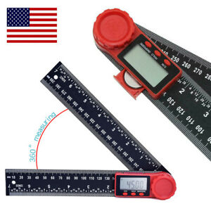 2 In 1 Digital Protractor Crown Trim Woodworking Angle Finder Ruler 8 200mm Us
