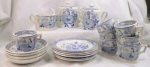 Antique Childs Tea Set Blue Transferware May Little Girl 21 Piece Victorian