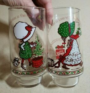 Holly Hobbie Drinking Glasses Vintage Christmas Coca Cola Limited Edition Two