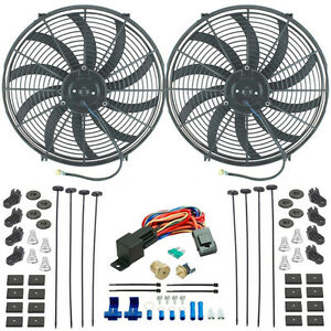 Dual 17 Inch Electric High Cfm 12 Volt Fans 3 8 Npt Thermostat Wire Switch Kit