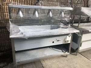 60 Cafeteria Style Steam Table Stainless Steel Nat Gas 4 Pans W Sneeze Guard