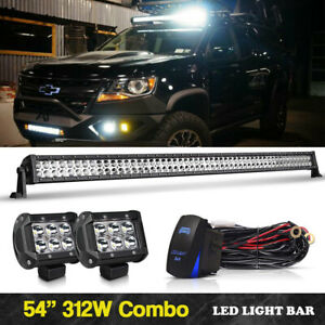 54 Inch Led Light Bar 4 Pods Cube Driving Offroad For Dodge Ram 1500 2500 3500