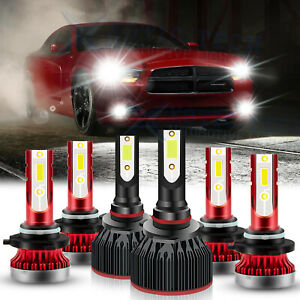 6pcs For Dodge Charger 2006 2007 2008 2009 Led Headlights Fog Light Bulbs 6000k