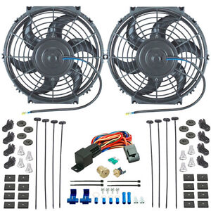 Dual 11 Inch Slim Electric Radiator Cooling Fans 3 8 Npt Thermostat Wiring Kit