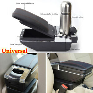 Pu Car Central Container Armrest Box Center Storage Case Cup Holder Universal