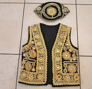 Vtg Islamic Ottoman Embroidered Embedded Vest Jackt With Matching Hat