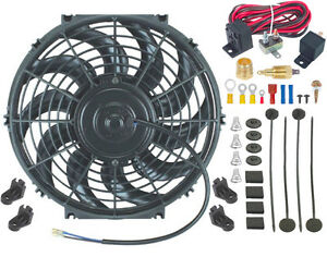 13 Inch Slim Electric Radiator Cooler Engine Fan 3 8 Npt Thermostat Switch Kit