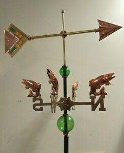 Large Copper Stain Glass Arrow Weathervane Fish Nsew Directionals Rod Balls