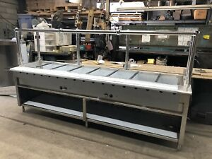 108 9ft Steam Table 8 Full size Pans Natural Gas W Sneeze Guard Nsf